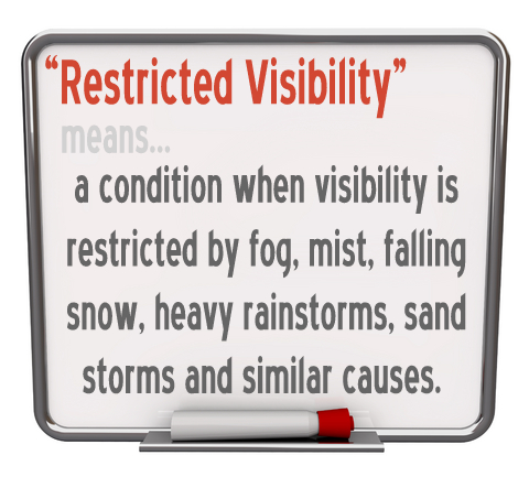 "The boating term ""Restricted Visiblity"" means, a condition when visibility is restricted by fog, mist, falling snow, heavy rainstorms, sand storms and similar causes."
