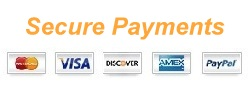 Secure Payments: Master Card, Visa, Discover, Amex and PayPal.